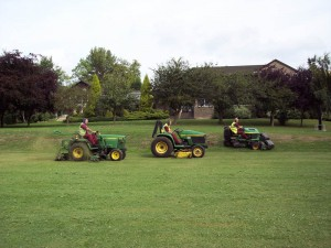 Example of mowing whilst undertaking grounds maintenance